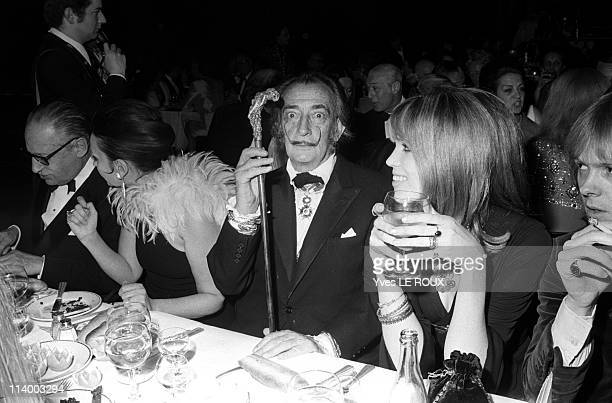 Premiere of 'Moulin rouge' in Paris France on April 08 1970Salvador Dali Amanda Lear Roger Garaudy and Ludmila Tcherina