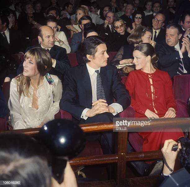 Premiere of the Movie The Swimming Pool in Paris France in 1968 Jane Birkin Alain Delon Romy Schneider Director Jacques Deray sits in the second row