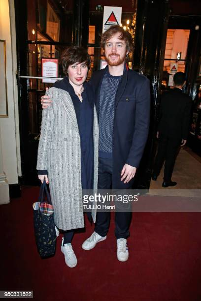 Premiere of the play Douce-Amere at the Theatre de Bouffes-Parisiens in Paris on March 26, 2018. Gael Giraudeau and his fiancee Anne Auffret are...