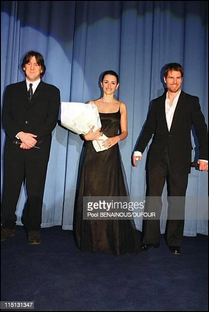 Premiere of 'Vanilla Sky' in Paris France on January 22 2002 Tom Cruise Cameron Crowe and Penelope Cruz