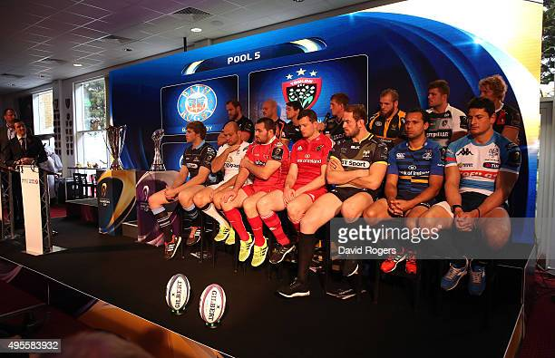 Premiership and Pro 12 captains look on during the European Rugby launch for Pro12 and Premiership clubs at Twickenham Stoop on November 4 2015 in...