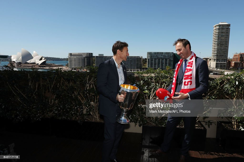 Premiership Cup Ambassador Brent Harvey and former Sydney Swans Premiership player Jude Bolton pose with the AFL trophy during the AFL Grand Final media announcement at The Museum of Contemporary Art Australia on September 6, 2017 in Sydney, Australia.