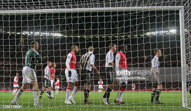 Premiership Football, Arsenal v Newcastle United, Players wait in the goalmouth for an Arsenal corner kick.