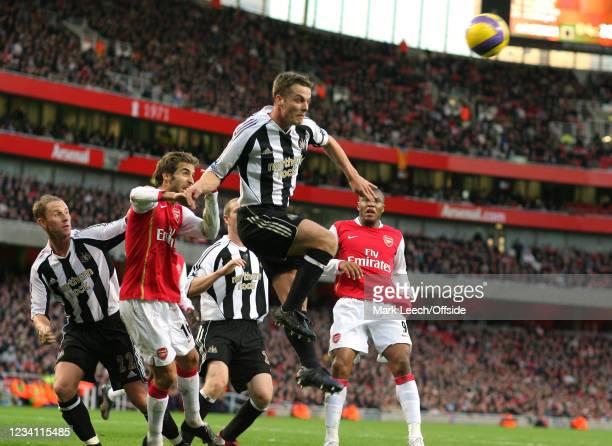 Premiership Football, Arsenal v Newcastle United, Scott Parker of Newcastle heads away an Arsenal corner kick.