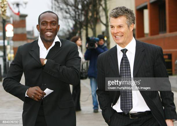 Premiership player Dwight Yorke and solicitor Nick Freeman leave Hartlepool Magistrates Court after he was given three points on his licence after...