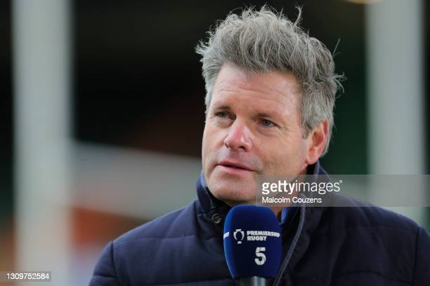 Premiership Rugby presenter Mark Durden-Smith looks on during the Gallagher Premiership Rugby match between Leicester Tigers and Newcastle Falcons at...