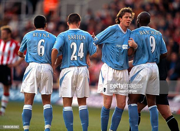 Premiership Southampton v Manchester City Steve McManaman organises the Manchester City wall with Claudio Reyna Joey Barton and Paolo Wanchope