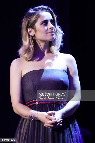 Premio Venezia Opera Prima 'Luigi De Laurentiis' jury member Greta Scarano speaks on the stage during the Award Ceremony of the 74th Venice Film...