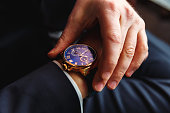 Premium men's watch on hand close up