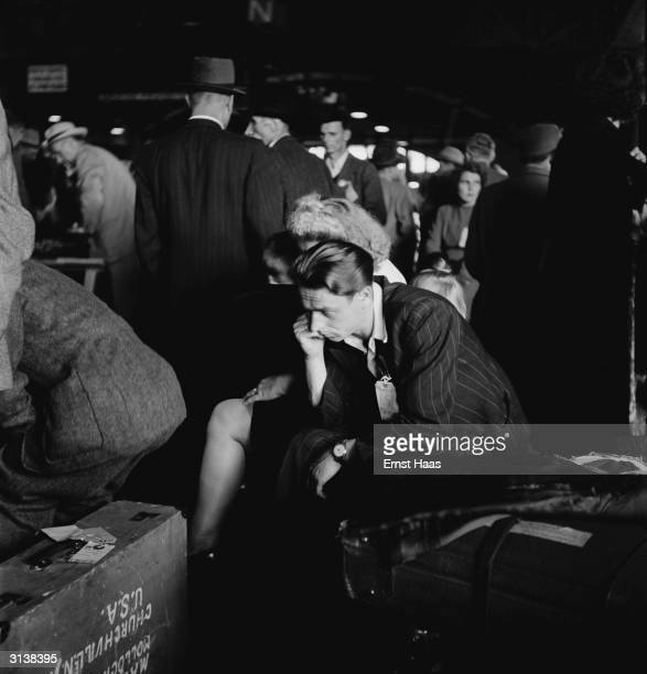 Premium Rates Apply A refugee at Ellis Island New York 1951 He has just arrived on board the USS General R M Blatchford which brought displaced...