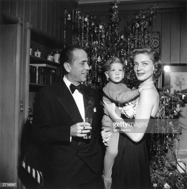 Premium Rates Apply. American actor Humphrey Bogart with his wife Lauren Bacall and their son Stephen at their home in Beverly Hills in California on...
