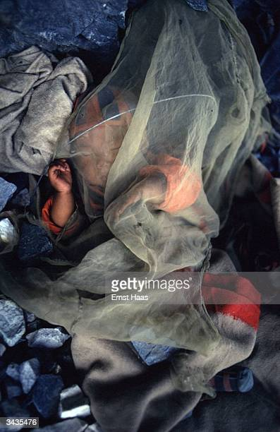 A Tibetan baby sleeping by the road during the construction of a road by Tibetan refugees in the Kulu Valley in India's Himachal Pradesh state...