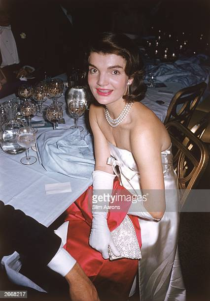Premium Rates Apply Jacqueline Kennedy wife of Senator Jack Kennedy at an 'April in Paris' ball 1958 Original Artwork A Wonderful Time Slim Aarons
