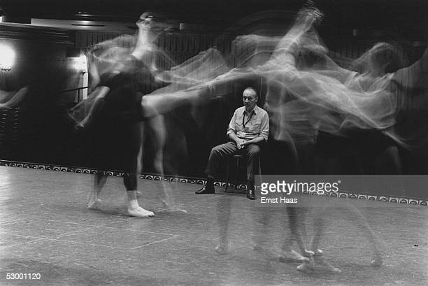 Premium Rates Apply Russianborn American choreographer George Balanchine watching a dance rehearsal at a studio in New York City 1960s