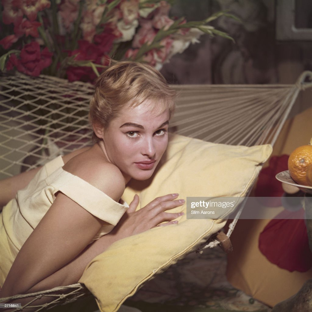 Premium Rates Apply. Swiss actress Ursula Andress reclines on a hammock in Rome.