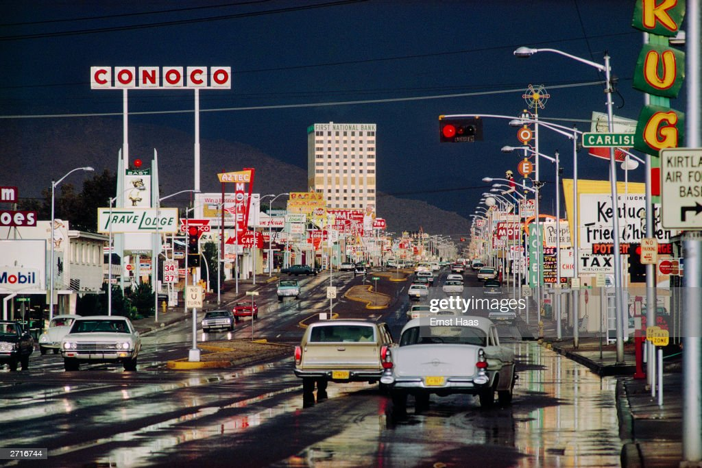 Premium Rates Apply. Traffic in the streets of Albuquerque, New Mexico after a heavy downpour. Original Publication: Colour Photography book.