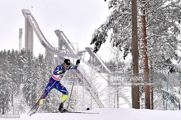 Prenom Jean Marc Gaillard of France competes during the FIS Nordic World Cup Men's and Women's Cross Country Skiathlon on February 21 2016 in Lahti...