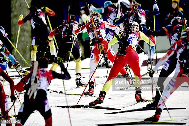 Prenom Nom of Pays competes during the Biathlon Women's 125km Mass Start at the Laura Crosscountry Ski Biathlon Center on February 17 2014 in Sochi...