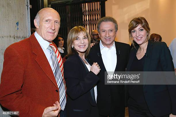 Prensenter of the show Michel Drucker with Actors Nicole Calfan Rufus and Amanda Sthers attend 'Vivement Dimanche' French TV Show at Pavillon Gabriel...