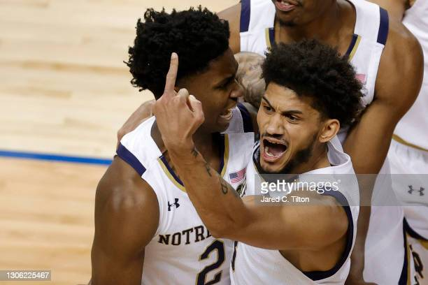 Prentiss Hubb of the Notre Dame Fighting Irish reacts following a game-winning three point basket by teammate Trey Wertz during the second half of...