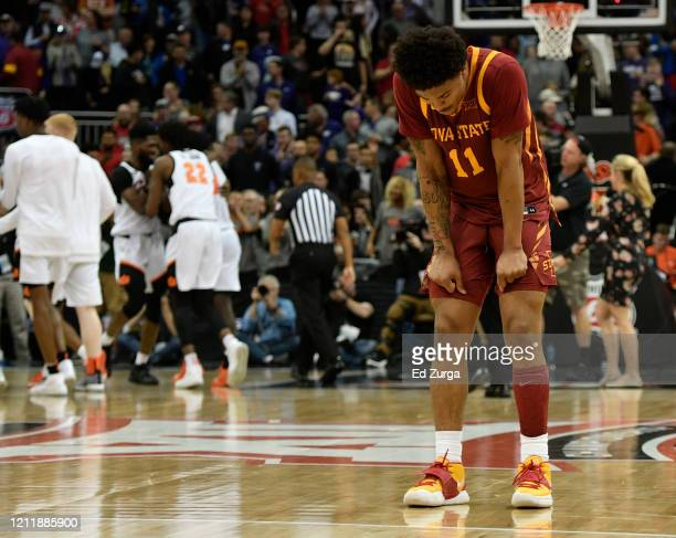 Prentiss Nixon of the Iowa State Cyclones reacts after their 7271 loss to the Oklahoma State Cowboys during the first round of the Big 12 Basketball...