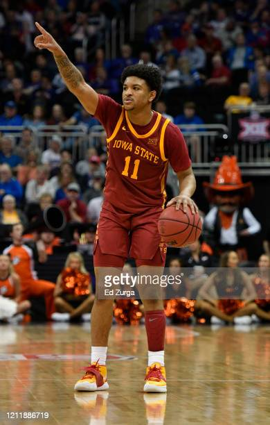 Prentiss Nixon of the Iowa State Cyclones sets up a play against the Oklahoma State Cowboys in the second half during the first round of the Big 12...