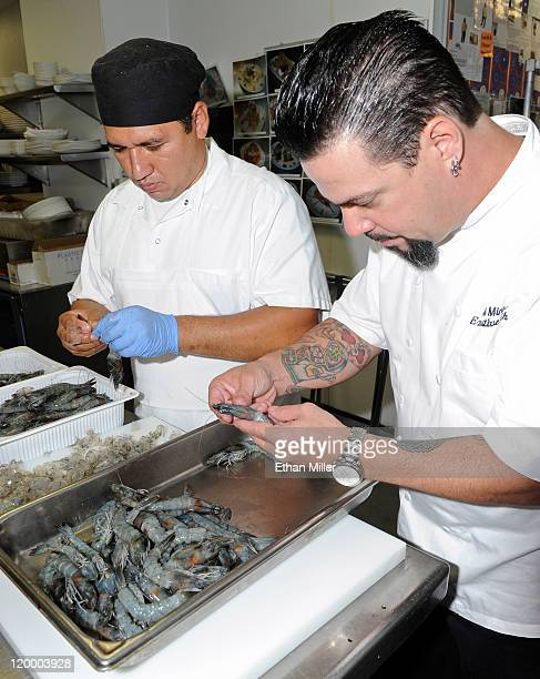 Prep cook Omar Fernandez and executive chef Mike Minor prepare Blue Oasis Pure Shrimp from the company's North Dakota research and development...
