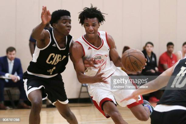 Prep guard AJ Lawson drives the lane in his team's game against Canadian Internation Basketball Academy at Lifetime Athletic in Mississauga January...