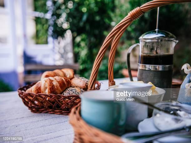 preparation for breakfast. - frühstück stock-fotos und bilder