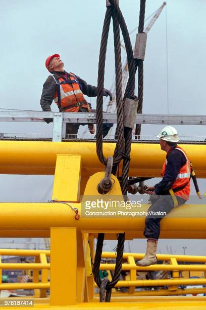 Preparation for erection of strut for Millennium Dome London United Kingdom Dome designed by Richard Rogers Partnership