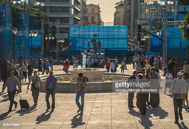 Preparation for Greek prime Minister and leader of Nea Dimikoratia political party, Antonis Samarras, to speak during a political rally in Syntagma...