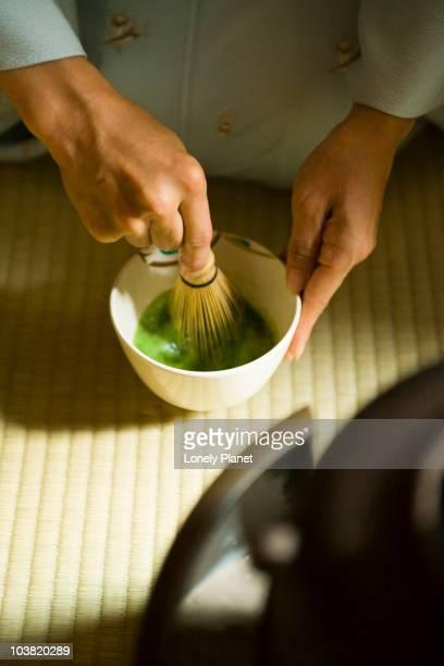 Preparation for tea ceremony at Okitsu Club Tea House in Gosho.