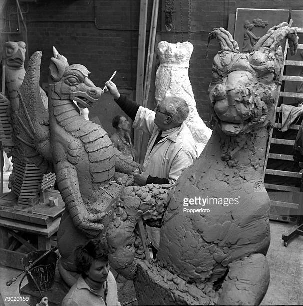 1953 Preparation for the Coronation of Queen Elizabeth II The Sculptor James Woodford works on one of the ten Queens Beasts heraldic devices used by...