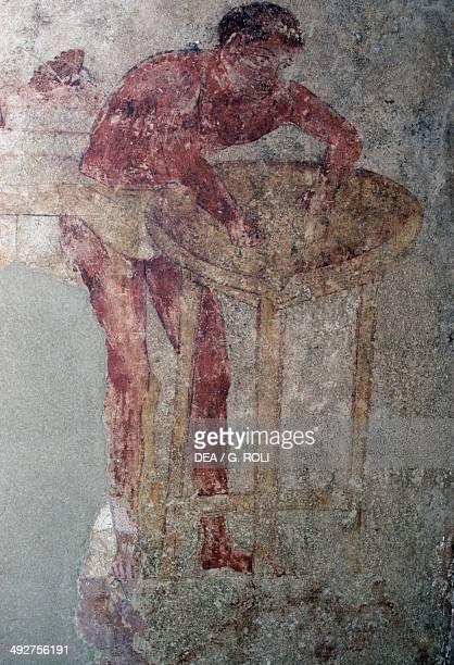Preparation for the feast fresco from the Golini tomb Necropolis of Settecamini Umbria Italy Orvieto Museo Claudio Faina