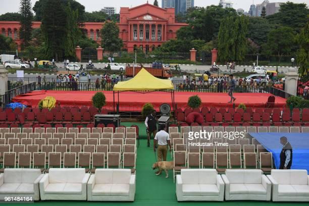 Preparation in full swing ahead of swearingin ceremony of Janata Dal leader HD Kumarswamy at Vidhan Soudha on May 22 2018 in Bengaluru India