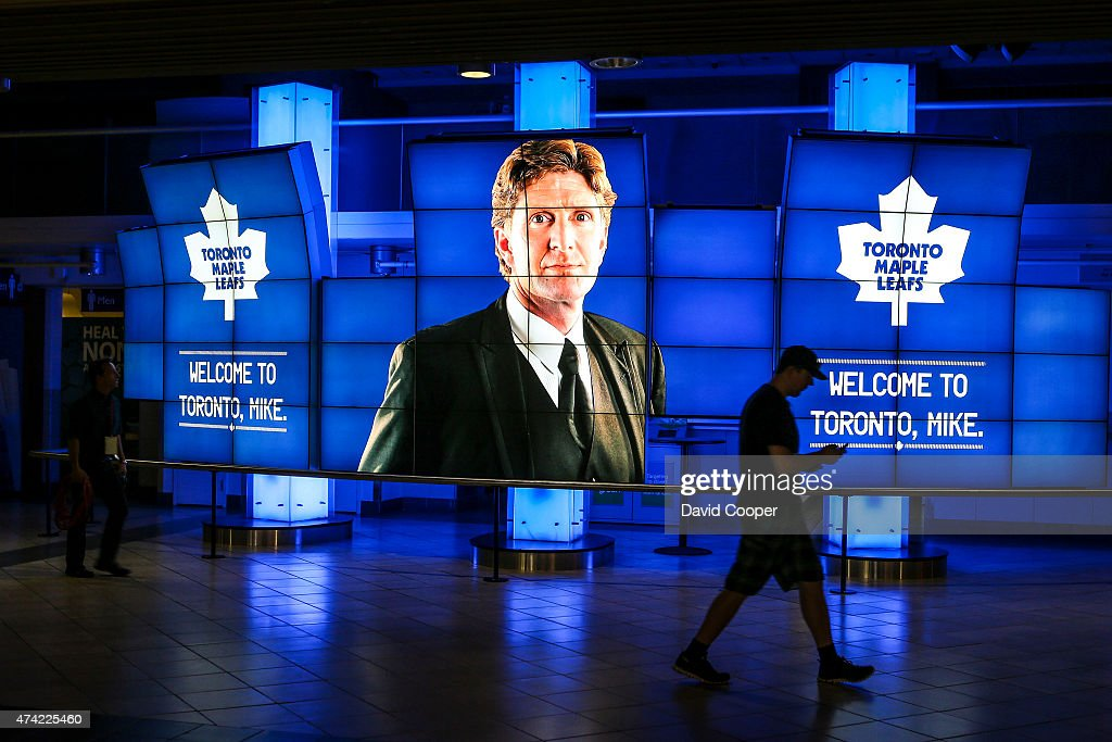 TORONTO, ON- MAY 21 - preparation is underway as Mike Babcock is introduced to Toronto at the Air Canada Centre May 21, 2015