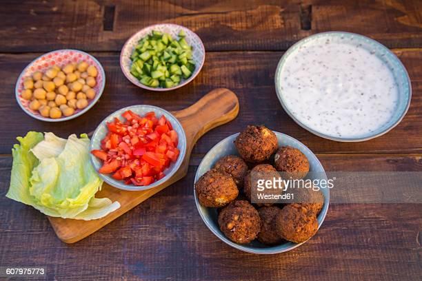 Preparation of falafel, vegetan falafel, ingredients in bowls