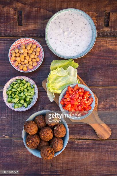 Preparation of falafel, vegetan falafel, ingredients in bowls