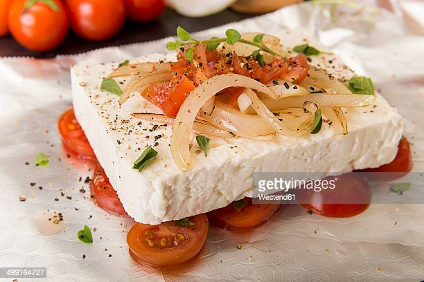 Preparation of low carb dish baked Feta cheese