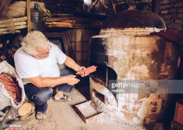 Preparation of moonshine homemade brandy.
