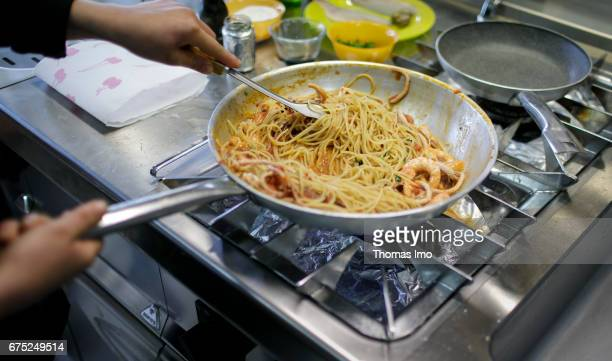 Preparation of pasta with seafood Training of cooks in a vocational school in Kamza Albania on March 28 2017 in Kamza Albania