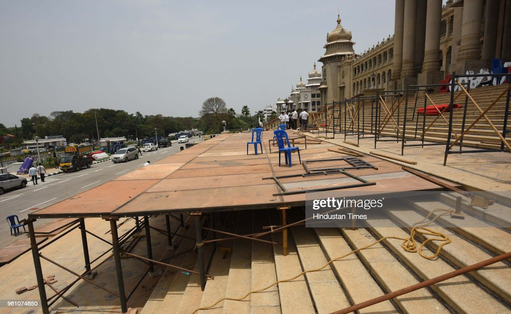 Preparation Of Swearing-in Ceremony Of H D Kumaraswamy As Karnataka Chief Minister