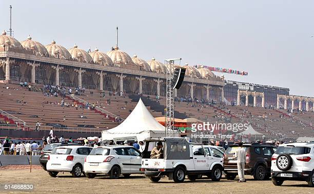 Preparation work being carried out for the World Cultural Festival event promoted by Art of Living foundation at the banks of River Yamuna on March...