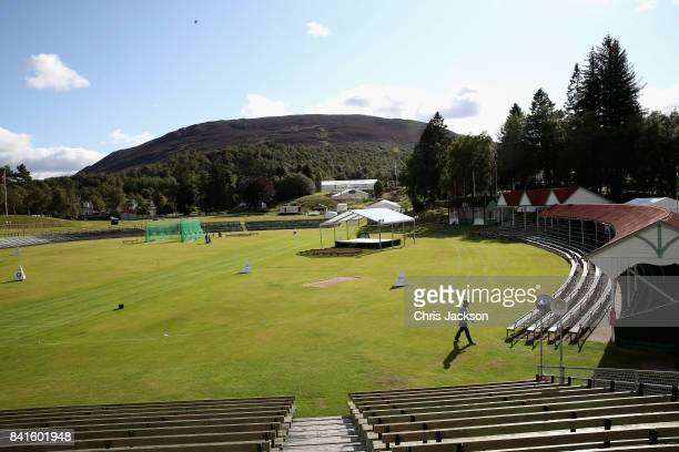 Preparations ahead of the 2017 Braemar Gathering at The Princess Royal and Duke of Fife Memorial Park on September 1 2017 in Braemar Scotland