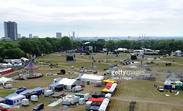 REQUIRED Preparations ahead of the Barclaycard British Summer Time 2015 gigs at Hyde Park on June 17 2015 in London England