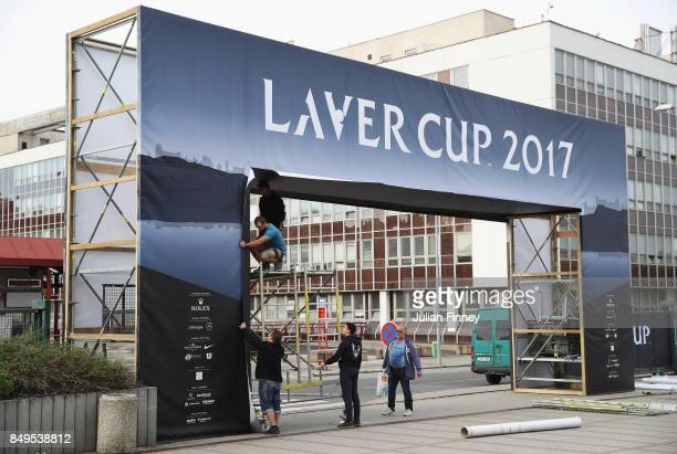Preparations are made ahead of the Laver Cup at the O2 Arena on September 19 2017 in Prague Czech Republic The Laver Cup consists of six European...