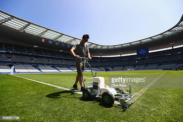 Preparations are made ahead of the UEFA Euro 2016 at Stade de France on June 9 2016 in Paris France France and Romania will contest the opening match...