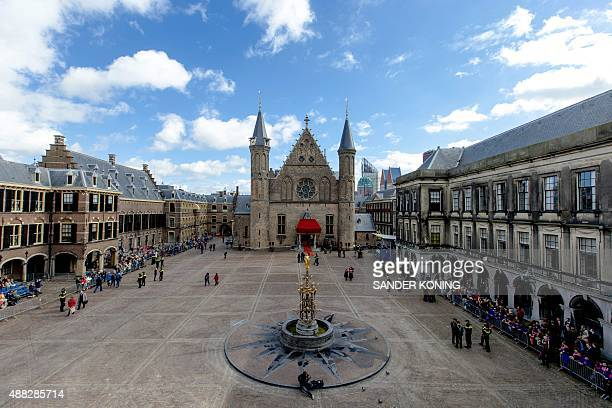 Preparations are made at the Binnenhof at The Hague the Netherlands on September 15 on Prinsjesdag the traditional opening of the Dutch parliamentary...