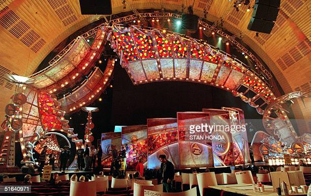 Preparations are made for the 40th Annual Grammy Awards on the stage at Radio City Music Hall 22 February in New York The Gramy Awards will be...