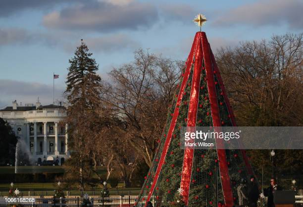 Preparations are made for the National Christmas Tree lighting ceremony held by the National Park Service at the Ellipse near the White House on...
